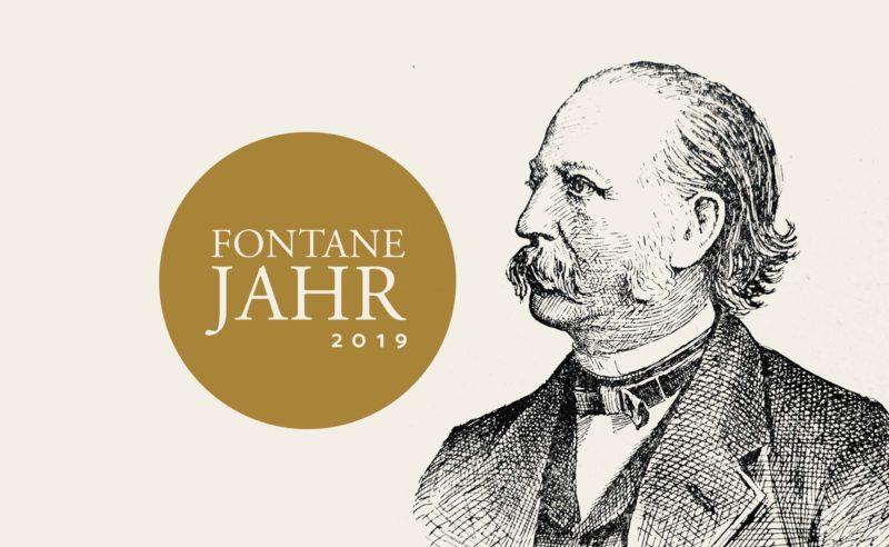 Ein Plakat mit Theodor Fontane für das Fontanejahr 2019