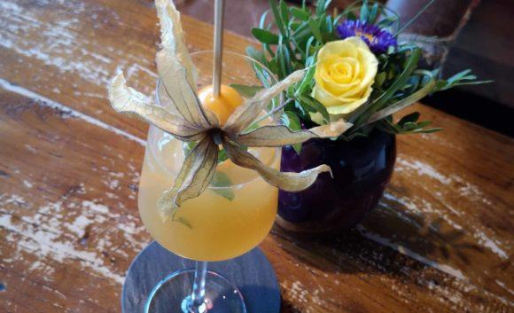 Orangefarbener Aperitiv mit Frucht verziert im Hotel Neuruppin
