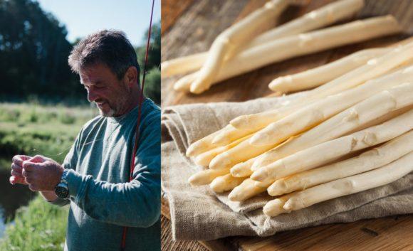 Weißer Spargel auf einem Küchentuch und ein Mann mit seiner Angel